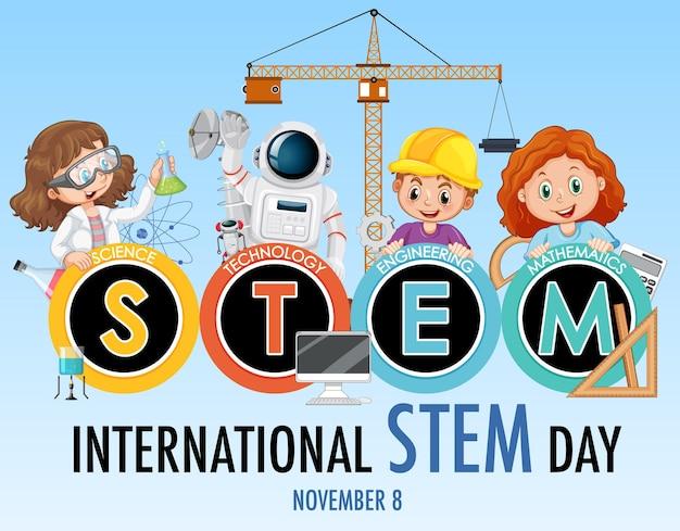 Banner del día internacional stem con personaje de dibujos animados para niños