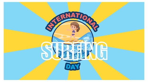 Banner del día internacional del surf con fondo de rayas amarillas y azules