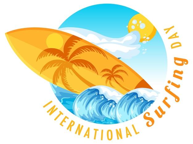 Banner del día internacional del surf con una tabla de surf en onda de agua aislada