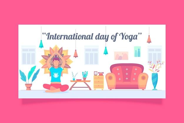 Banner del día internacional del yoga con una persona en casa