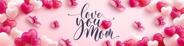 Banner del día de la madre con corazones dulces