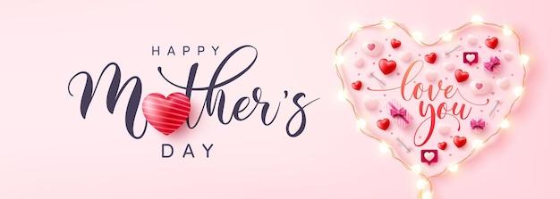 Banner del día de la madre con el símbolo del corazón de luces led