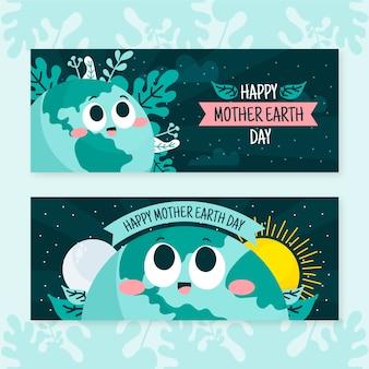 Banner de día de la madre tierra dibujada a mano con luna y sol