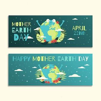 Banner del día de la madre tierra dibujado a mano con lindo planeta