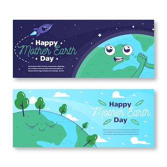 Banner del día de la madre tierra dibujado a mano con el planeta mirando la nave espacial