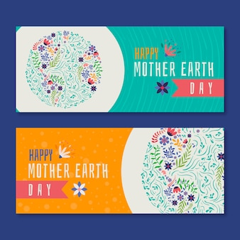 Banner del día de la madre tierra dibujado a mano