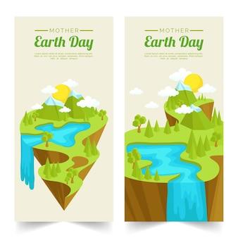 Banner del día de la madre tierra en diseño plano