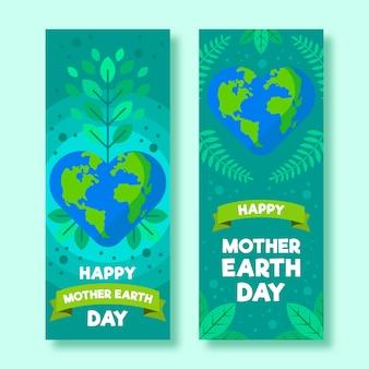 Banner del día de la madre tierra con hojas y cinta