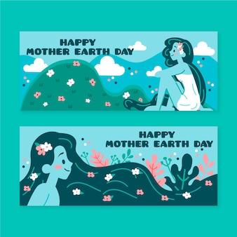 Banner del día de la madre tierra con mujer y naturaleza