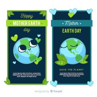 Banner día de la madre tierra planeta adorable