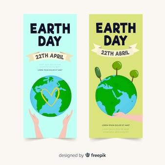 Banner día de la madre tierra planeta con manos