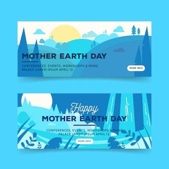 Banner del día de la madre tierra con sol y árboles
