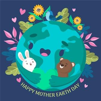 Banner del día de la madre tierra con tierra abrazando animales