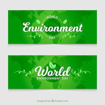 Banner del día del medioambiente con diseño verde