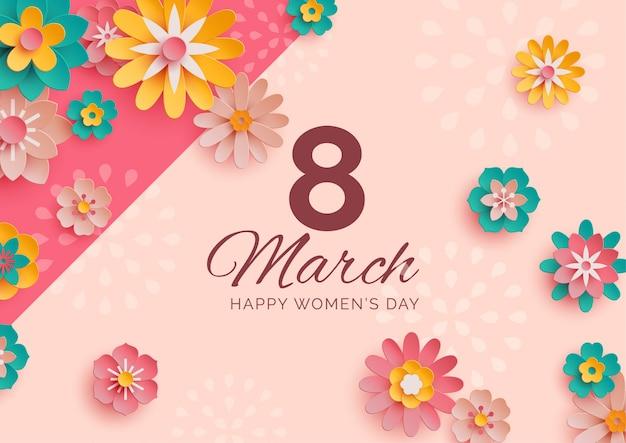 Banner del día de la mujer con flores de papel dispersas