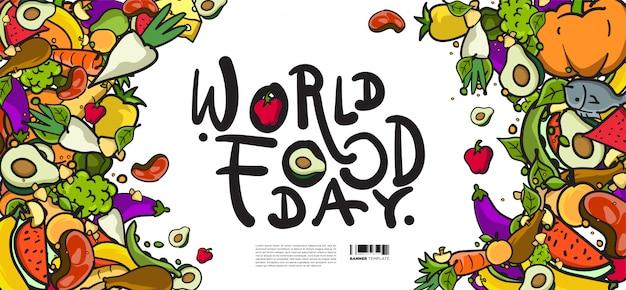 Banner del día mundial de la alimentación. varios alimentos, frutas y verduras
