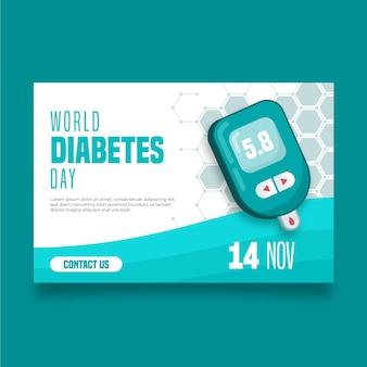 Banner del día mundial de la diabetes con fecha