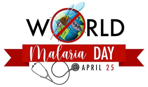 Banner del día mundial de la malaria con cartel de mosquito