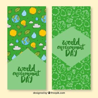 Banner del día mundial del medioambiente con patrón de la tierra y el sol