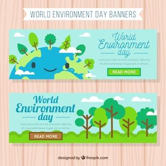 Banner del día mundial del medioambiente con una tierra sonriente