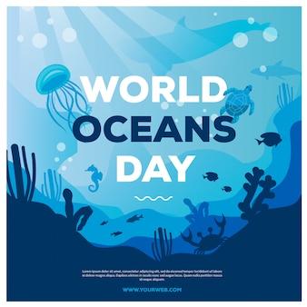 Banner del día mundial del océano con grandes ballenas y estrellas, camarones, medusas, luces de medusas para las redes sociales