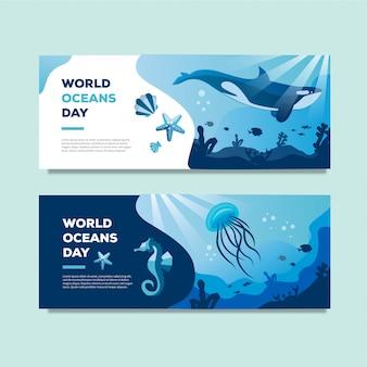 Banner del día mundial del océano con grandes luces de camarones ballena y estrellas