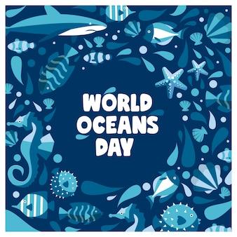 Banner del día mundial del océano con mandíbulas ballena estrellas camarones caballito de mar estilo plano moderno para redes sociales