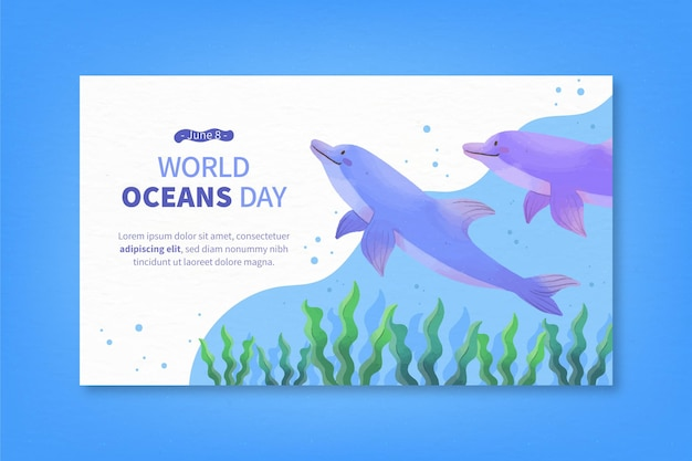 Banner del día mundial de los océanos en acuarela
