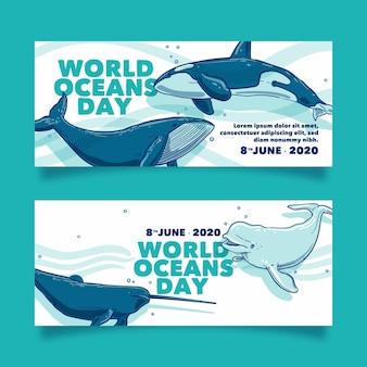 Banner del día mundial de los océanos dibujados a mano
