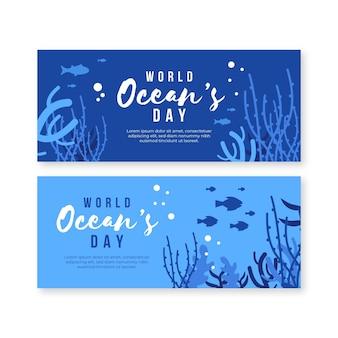 Banner del día mundial de los océanos en diseño plano