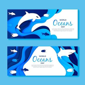 Banner del día mundial de los océanos en papel