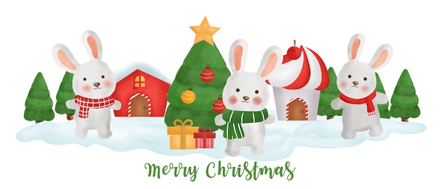 Banner del día de navidad con lindos conejos en el pueblo de nieve.