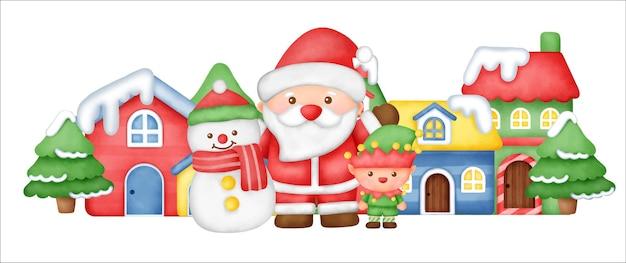 Banner del día de navidad con papá noel y amigos en el pueblo de nieve.