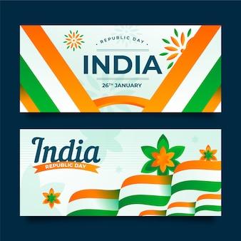 Banner del día de la república en diseño plano