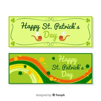 Banner del día de san patricio dibujado a mano