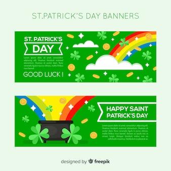 Banner del día de san patricio en diseño plano