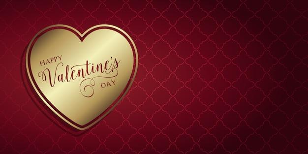 Banner del día de san valentín con corazón de oro