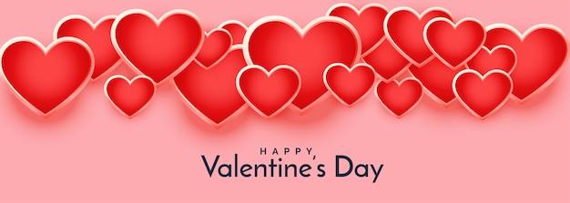 Banner de día de san valentín de corazones flotantes 3d