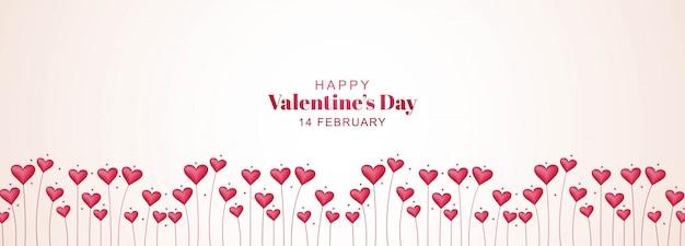 Banner del día de san valentín con jardín del corazón