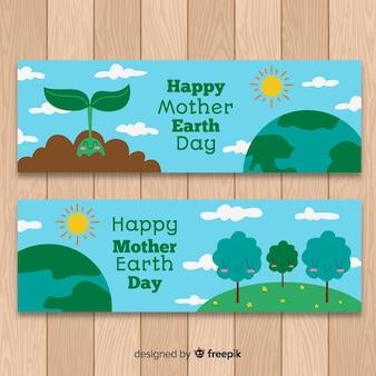 Banner día de la tierra dibujado a mano
