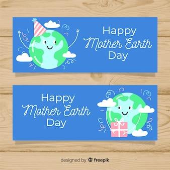 Banner del día de la tierra dibujado a mano
