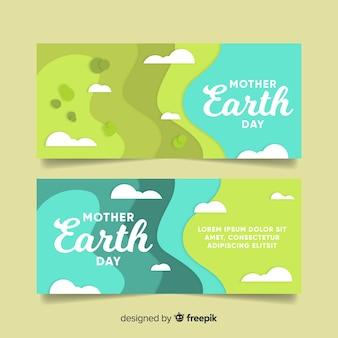 Banner del día de la tierra en diseño plano