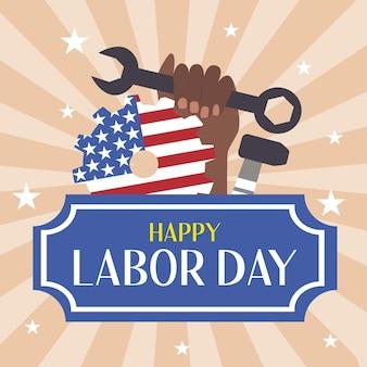 Banner del día del trabajo con herramientas de estrellas y un puño femenino negro con una llave inglesa y una bandera estadounidense