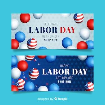 Banner del día del trabajo para ventas con globos americanos