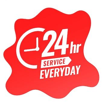 Banner diario de servicio 24 horas con diseño de reloj.