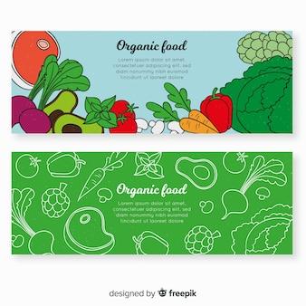 Banner dibujado a mano comida orgánica