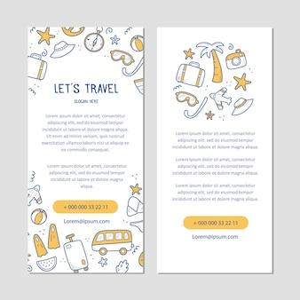 Banner dibujado a mano de elementos de vacaciones de verano viajes