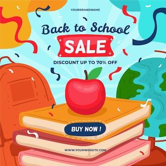 Banner dibujado a mano de regreso a la escuela de ventas