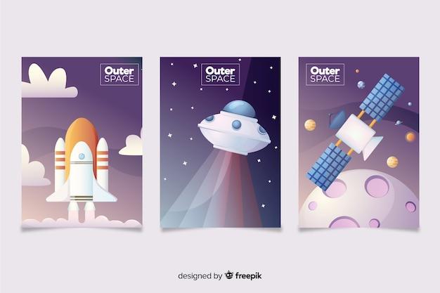 Banner dibujado a mano transporte espacial