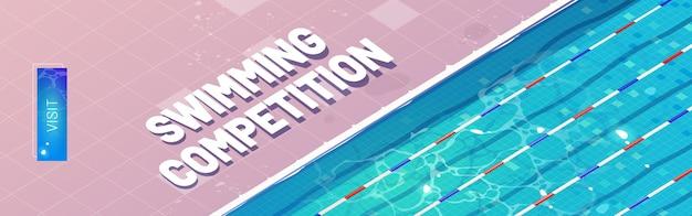 Banner de dibujos animados de competencia de natación